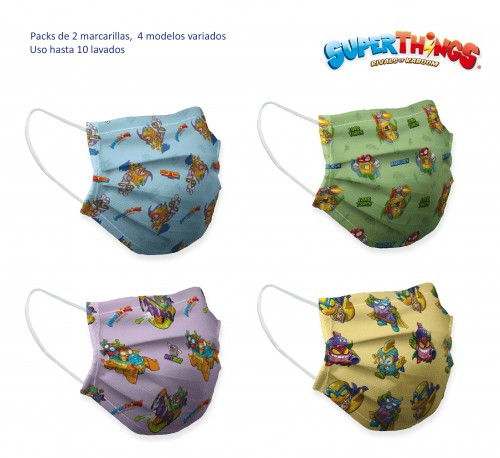 Pack 2 mascarillas higiénicas infantiles Superthings