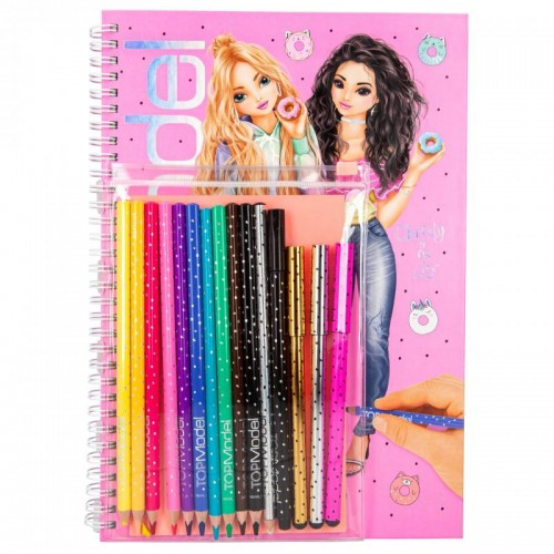Cuaderno de colorear + set colores top model