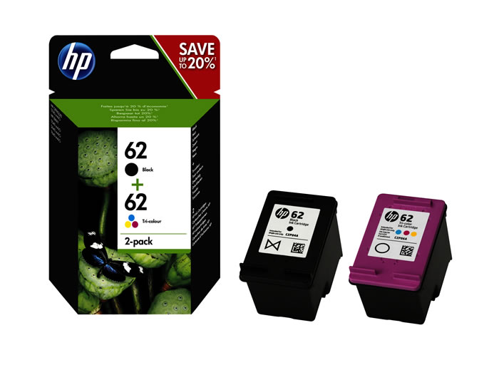 Pack de ahorro de 2 cartuchos de tinta original HP 62 negro/tri-color